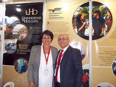 El Rector de la Universidad de Holguín con la Dr.C. Deisy Fraga Cedré, Rectora de la Universidad de Ciencias Pedagógicas de La Habana.