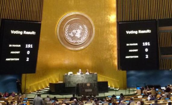 Un total de 191 naciones votaron a favor, ningún país se opuso y dos se abstuvieron, por primera vez Estados Unidos e Israel.