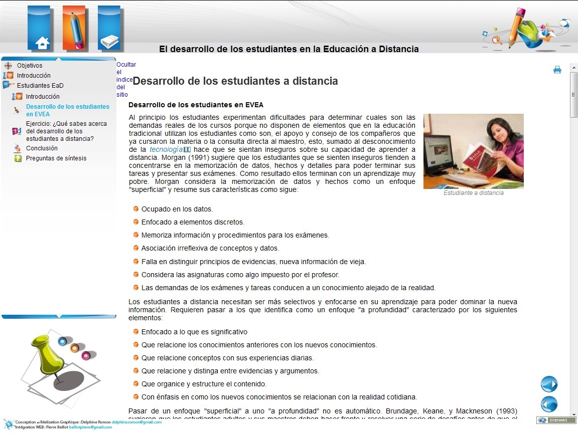 Ejemplo del interfaz de un Objeto de Aprendizaje