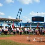 Acto por el aniversario 55 de la UJC y apertura de los Juegos Deportivos Universitarios Maniabón 2017, efectuado en el Estadio Calixto García, de Holguín. 4 de abril de 2017. UHO FOTO/Luis Ernesto Ruiz Martínez