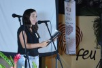 Iriannis Torres Miranda, estudiante de primer año de Periodismo, habló en nombre de los alumnos que recibieron el carné de la FEU en la Universidad de Holguín. Acto efectuado el 28 de septiembre de 2017 en la Sede Oscar Lucero Moya. UHO FOTO/Luis Ernesto Ruiz Martínez.