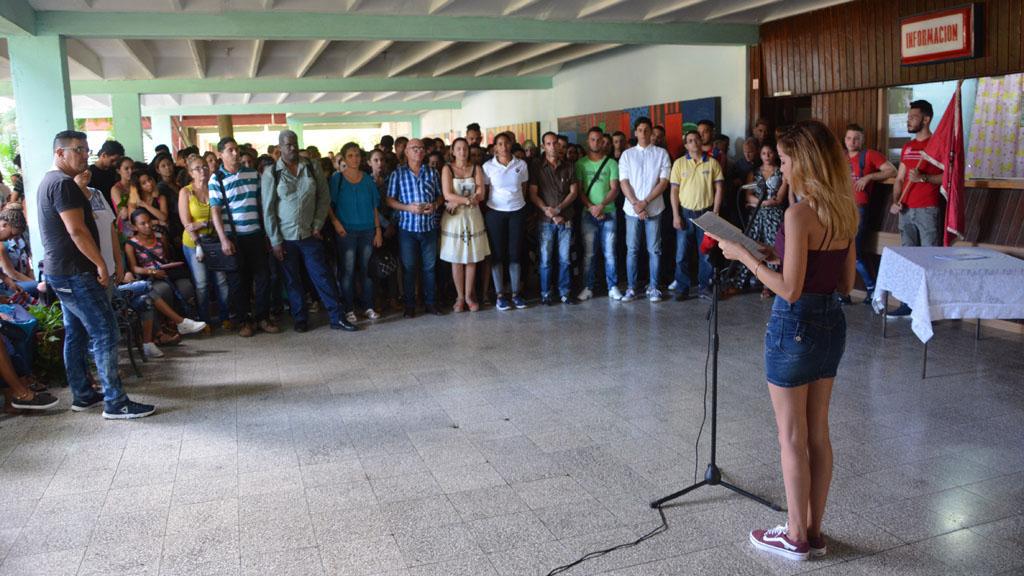 Estudiantes de primer año de carreras pedagógicas ingresan al Contingente Manuel Ascunce Domenech. Efectuado en la sede José de la Luz y Caballero, el 27 de noviembre de 2018. UHo FOTO/Luis Ernesto Ruiz Martínez.