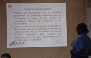 Brigida Baeza Bravo, Directora de Ecured, expone las perspectivas de trabajo de la Enciclopedia Colaborativa Cubana. UHo FOTO/Luis Ernesto Ruiz Martínez.
