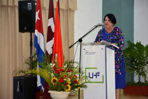 Dr. C. Isabel Cristina Torres Torres, Rectora, pronuncia las palabras centrales en la Graduación 46 de la Universidad de Holguín, desarrollada en la sede José de la Luz y Caballero, del 3 al 5 de julio de 2019. UHo FOTO/Luis Ernesto Ruiz Martínez.