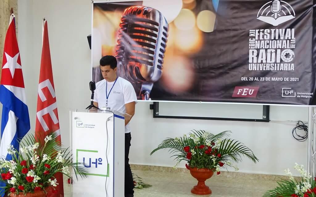 La XII edición del Festival Nacional de la Radio Universitaria quedó inaugurada en la sede Oscar Lucero Moya de la Universidad de Holguín, y sus sesiones se extenderán hasta el 23 de mayo. UHo FOTO/Yusmel Pérez.