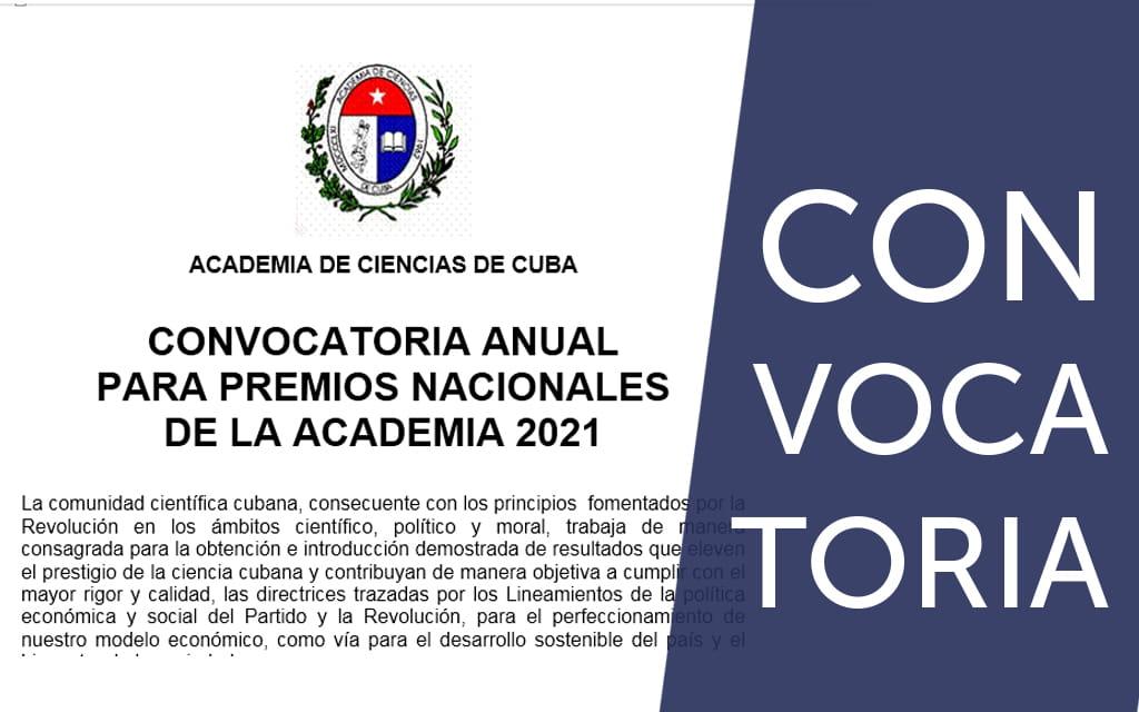 Convocatoria anual para Premios Nacionales de la Academia de Ciencias de Cuba 2021